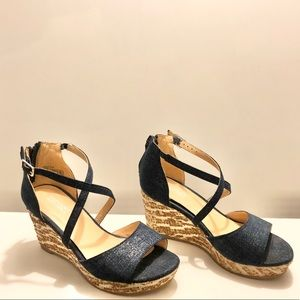Badgley Mischka Sofia Star Navy Denim Wedge Sandal